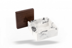 Briq - Concrete Ashtray with Walnut Wood Lid - Marble