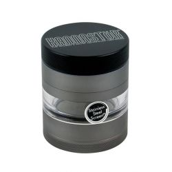 "Kannastör® Jar Body 2.2"" 4-Piece Multi Chamber Grinder with Stainless Easy Change Screen™ in Gunmetal"