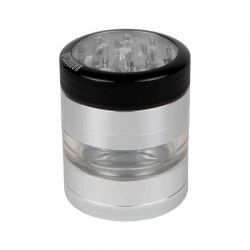 Kannastör® Clear Top Jar Body 4-Piece Multi Chamber Grinder with Stainless Easy Change Screen™ - 2.2""